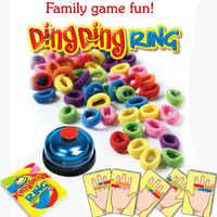 Lustige Herausforderung Ring Ding Spielzeug Familie Party Spiele Große Praktische Gadgets Für 2-6 spieler mit 24 bild karten 60 haar 1 Glocke