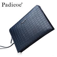 Padieoe Luxury Crocodile pattern Design men 's Wallet Genuine Leather Clutch bag Durable Cowhide business man Purse bag Wallets