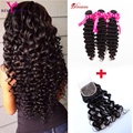 3 Bundles 7A Indian Virgin Human Hair Deep Wave With Closure Indian Deep Wave Curly With Closure Remy Queen Hair Extensions