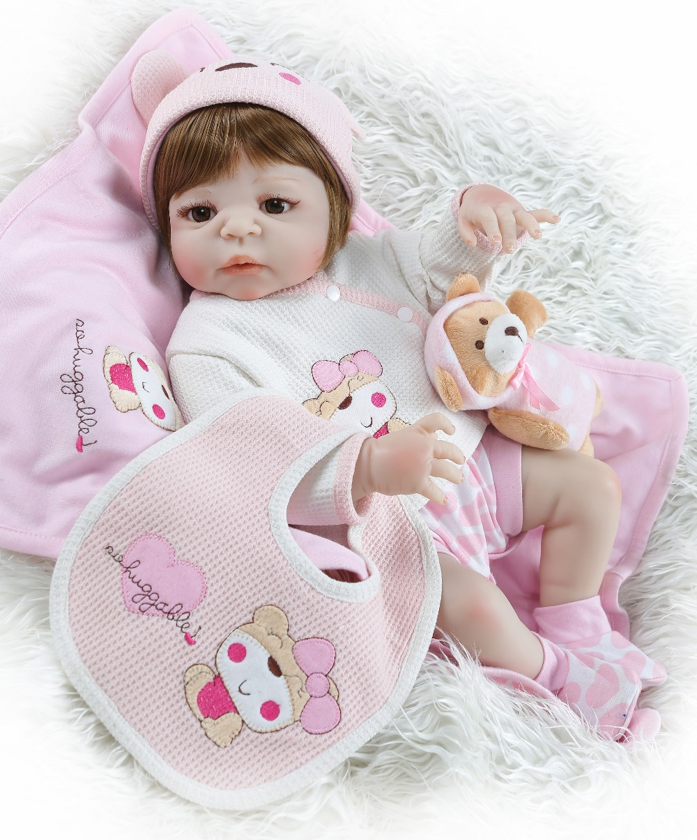 New 56cm pink Full silicone body girl Reborn Baby Doll bebe doll raborn Newborn Dolls For Children Birthday Gifts Baby Dress