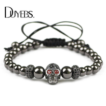 Фотография DUYEBS Trendy Men Skull Charms Bracelet 6mm Gun Black Color Copper Beads Pave CZ Lucky Braided Rope Women Bangle Jewelry Gift