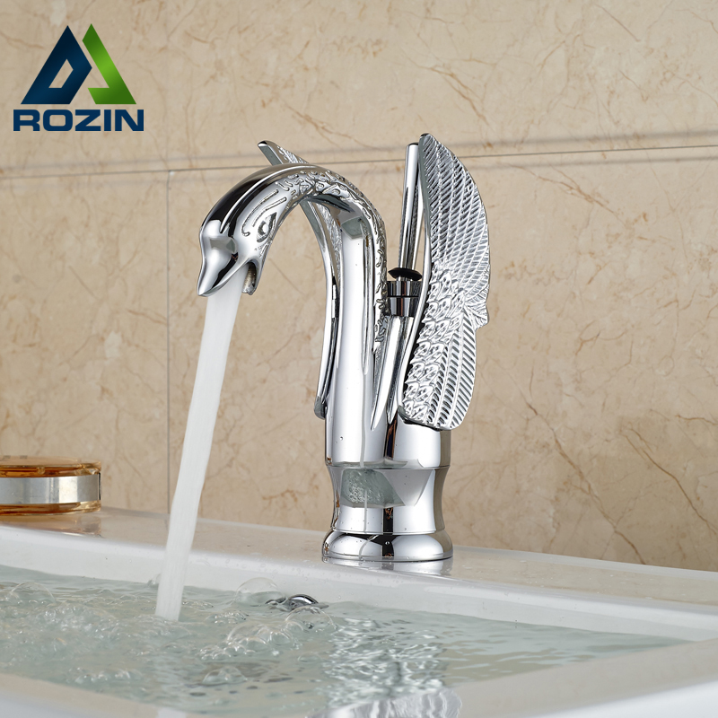 Chrome Brass Swan Basin Vanity Sink Faucet Deck Mount One Hole Mixer Water Tap deck mount chrome finish basin faucet bath vanity sink tap waterfall spout mixer faucet one hole tap