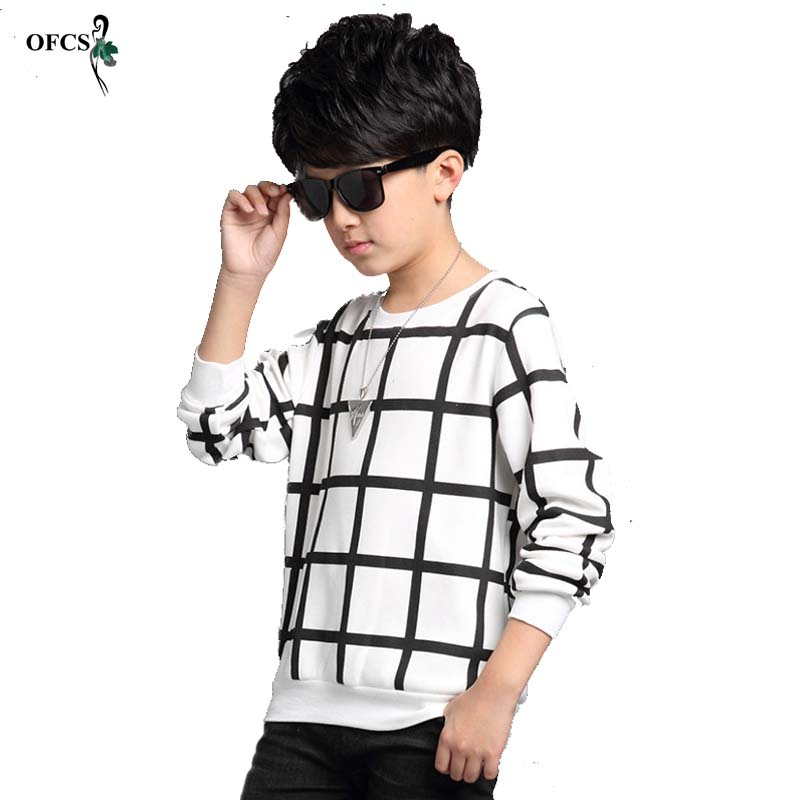 Children Grid Boys Clothing Kids t-Shirt Long-Sleeves Spring/autumn Pullover New Patchwork