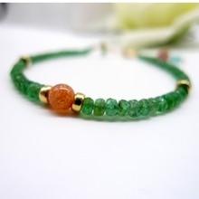 Натуральный изумрудно-зеленый бисер резной лицо Апатит 14 к покрытый золотом браслет ножной браслет для женщин