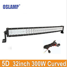 Oslamp 32inch 300W Curved LED Light Bar (Spot+Flood) Combo Car For Car Trailer SUV Pick-Up Bus Led Driving Work Lamp