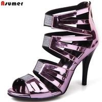 ASUMER purple silver fashion summer ladies shoes peep toe zip elegant prom shoes women high hees sandals big size 32 44