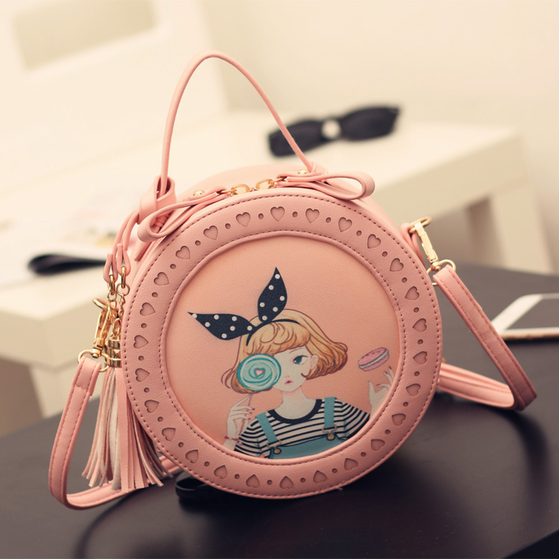 Round Women Tassel Bag Woven Crossbody Bags For Womens Shoulder Bag Ladies Cute Knitting Circular Women