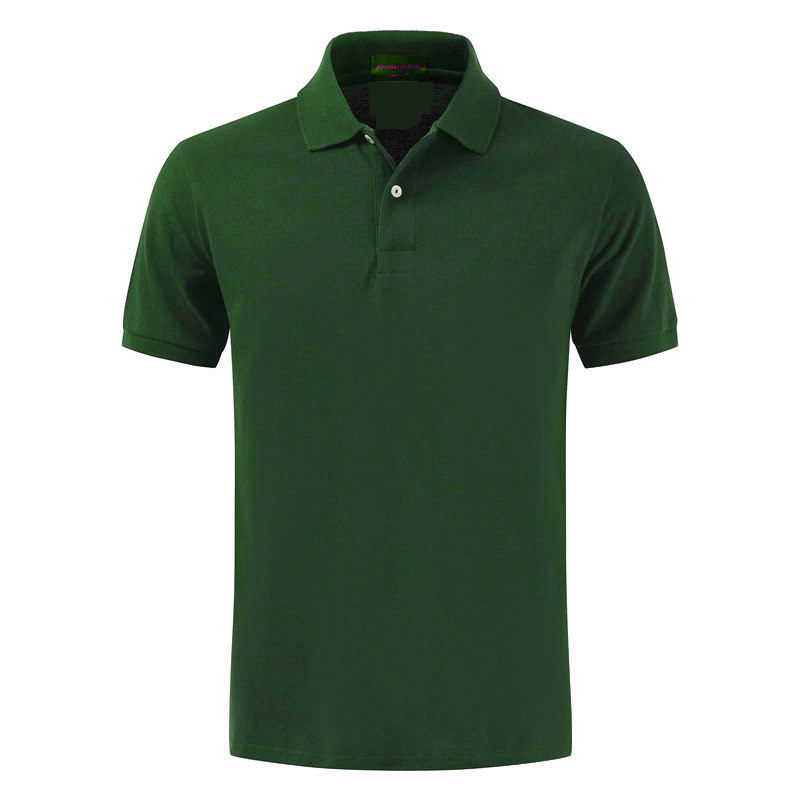 High quality 100% cotton   polo   shirt, men's short sleeves, 2018 lapel, pure European and American Paul shirts Dark green