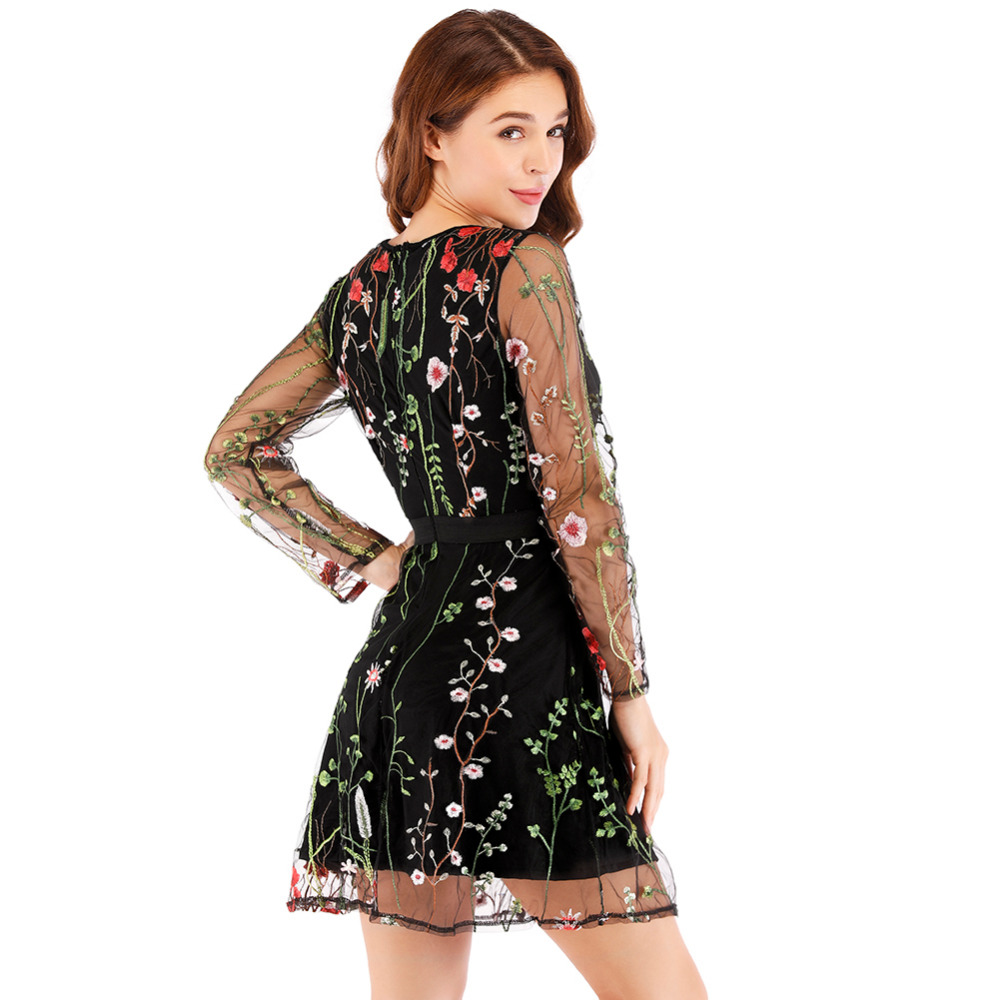 Women Floral Embroidery Dress 4