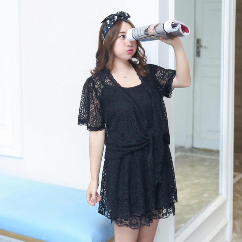 Lady Lace Trim Sexy 3PCS Nightwear Large Size Summer Hollow Out Cami&Coat&Shorts Home Wear Solid Short   Pajamas     Set   Lingerie