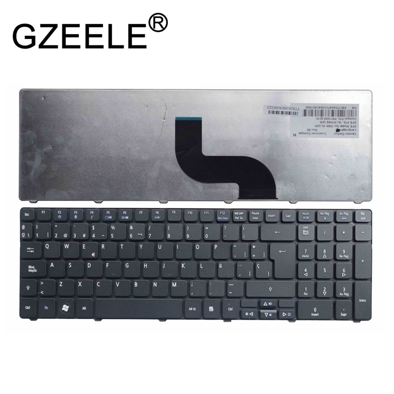 GZEELE Spanish Keyboard For ACER Aspire MP-09G36E0-6981W PK130PI1B18 PK1309F2000 KB.I170A.083 V104702AK3 Black SP Teclado