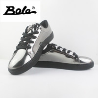 BOLE New Design Sequin Men Casual Shoes Rubber Sole Men Non-slip Lace Up Sneakers Waterproof Flat Shoes Gold Blue Sliver Black 4