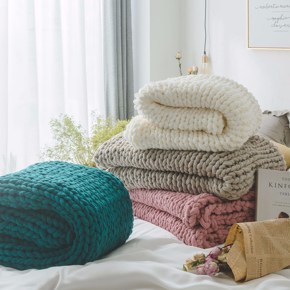 High quality Chunky Knitted Blankets throws Blanket Ultra Plush Decorative Throw Blanket Queen Bedroom Comfortable Breathable