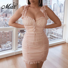 Max Spri 2019 New Women's Sexy Sheath Strapless Strap Ruffles V Neck Bodycon Draped Party Club Dress V Neck Lace Up Lady Dress lace insert draped mini bodycon dress