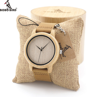 BOBO BIRD A1619 Mens Natural Wood Bamboo Watches Womens Vintage Wooden Watch With Genuine Leather Band