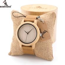 BOBO de AVES A1619 Mens Relojes Para Mujer de La Vendimia De Madera Natural de Bambú de Madera Reloj Con Banda de Cuero Genuino