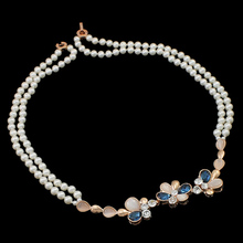 14 Inch Strand Cheap Jewelry Fashion with Cats Eye brass foldover clasp Flower Natural Freshwater Pearl Necklace