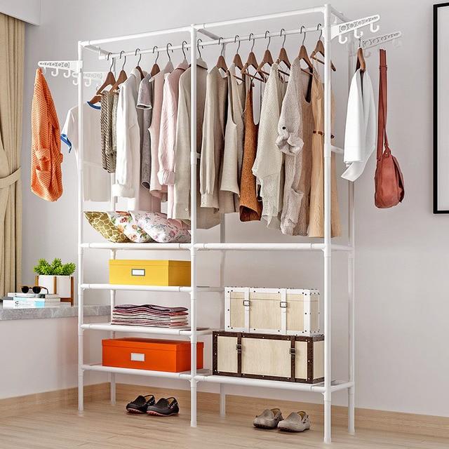 Simple Coat Rack Multifunctional Bedroom Wardrobe Storage Shelves Indoor Drying Home Furniture