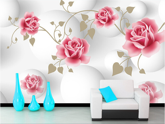 Custom Simple pink rose murals papel de parede,hotel restaurant coffee shop living room sofa TV wall bedroom 3d wallpaper flower 3d mural papel de parede purple romantic flower mural restaurant living room study sofa tv wall bedroom 3d purple wallpaper