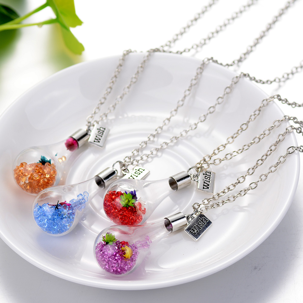 Fashion jewelry crystalflower glass bottle long necklace silver fashion jewelry crystalflower glass bottle long necklace silver color chain wish pendant necklaces women bijoux femme collier in chain necklaces from aloadofball Image collections