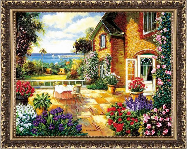 Needlework, DIY Fita Cross stitch Set para Bordado kit, Verão beira-mar jardim casa de campo flor amor fita Cross-Stitch handwork