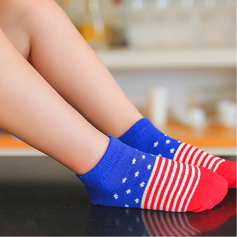 Baby Favorite 5 Pair/lot Summer Baby Girls Boys Short Socks Five kinds of National Flag With Anti-slip Socks July 4th Celational