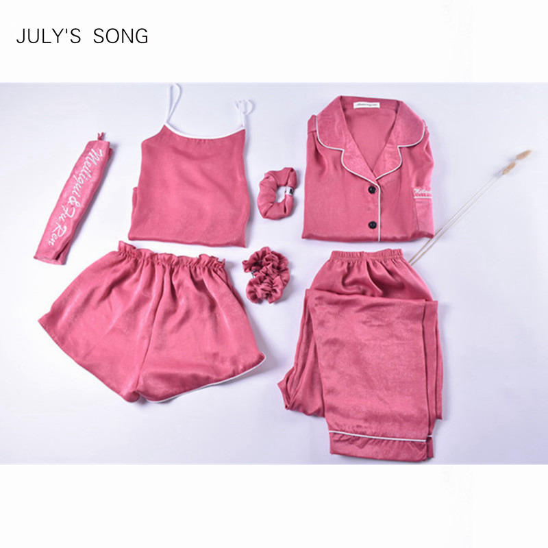JULY'S SONG 7 Pieces   Pajamas     Set   Women Autumn Winter Mulberry Sleepwear Casual Sexy Women Silk   Pajama     Sets   Pink Nightwear Sling