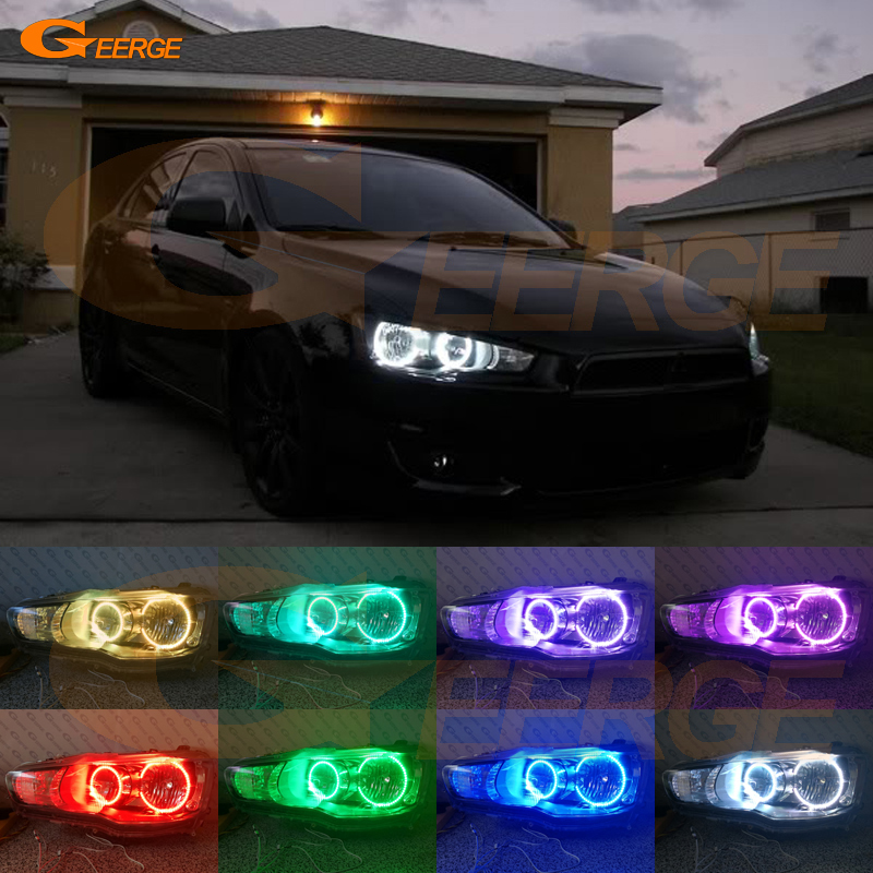 For Mitsubishi Lancer 2008-2015 Halogen headlight Excellent Multi-Color Ultra bright RGB LED Angel Eyes kit Halo Rings for mitsubishi lancer 2008 2015 non projector excellent multi color ultrabright 7 colors rgb led angel eyes halo rings led light
