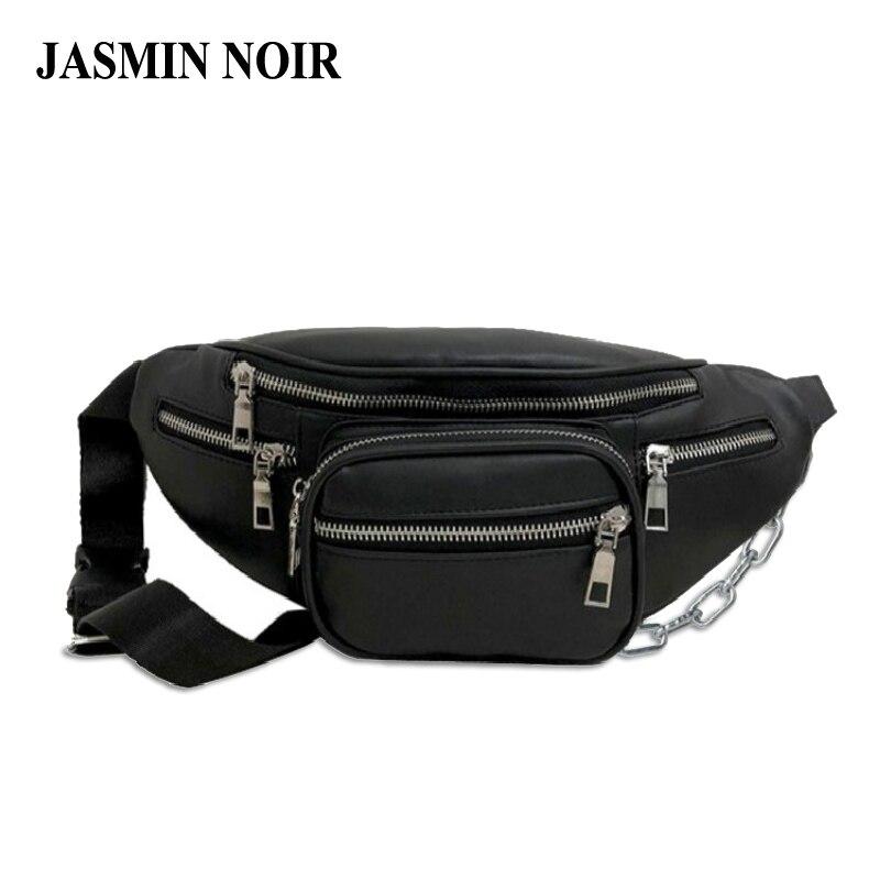 Fashion Brand PU Leather Women Waist Bag Female Designer Casual Chest Bag Shoulder Messenger Bag Small Black Cool Fanny Pack