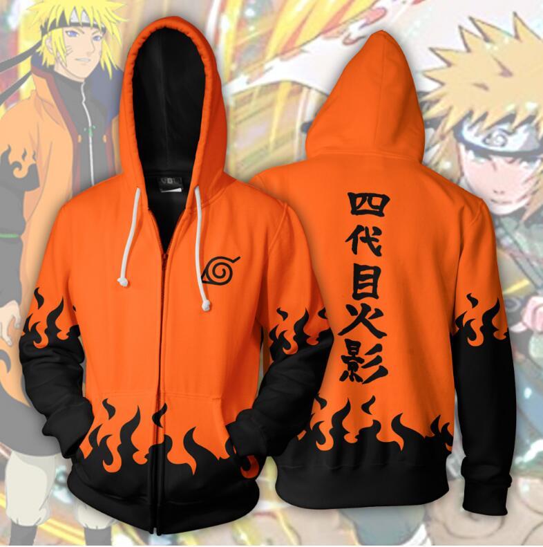 2018 nouveau mode hommes femmes Cool sweat Hoodies Hommes femmes 3D impression Naruto Quatrième Orange Style Streetwear manches Longues vêtements