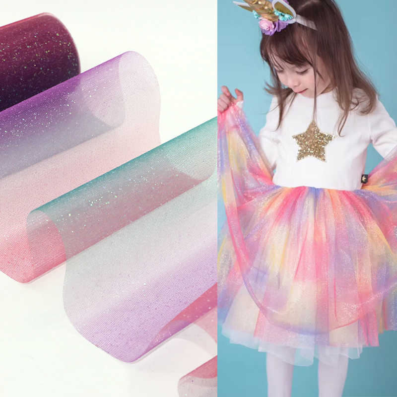 10yard 15cm Glitter Rainbow Tulle Roll Sparkly Organza DIY Craft Tutu Skirt Unicorn Birthday Party Decoration Wedding Decoration