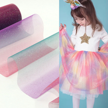 10yard 15cm Glitter Rainbow Tulle Roll Sparkly Organza DIY Craft Tutu Skirt Unicorn Birthday Party Decoration Wedding