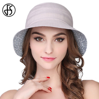 FS Summer Fashion Hat Women Sun Bucket Cotton Hat Wide Brim Fishing Caps Floppy Elegant Floral Sunhat Foldable Cappello