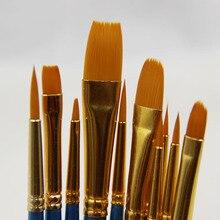 10 шт./лот, высокое качество, детская ручка для рисования акварелью, гуашь, нейлоновая ручка для волос, деревянная ручка, многофункциональная ручка