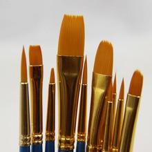 10PCS/lot High Quality Kids Watercolor Gouache Painting Pen Nylon Hair Wooden Handle Brush Multi Function Pen