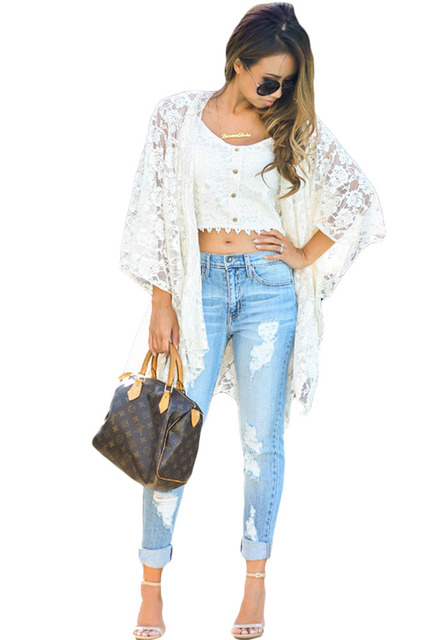 Summer 2017 White Flower Lace Kimono Cardigan Bohenian Style Beach Cover Up blusas y camisas mujer LC42021