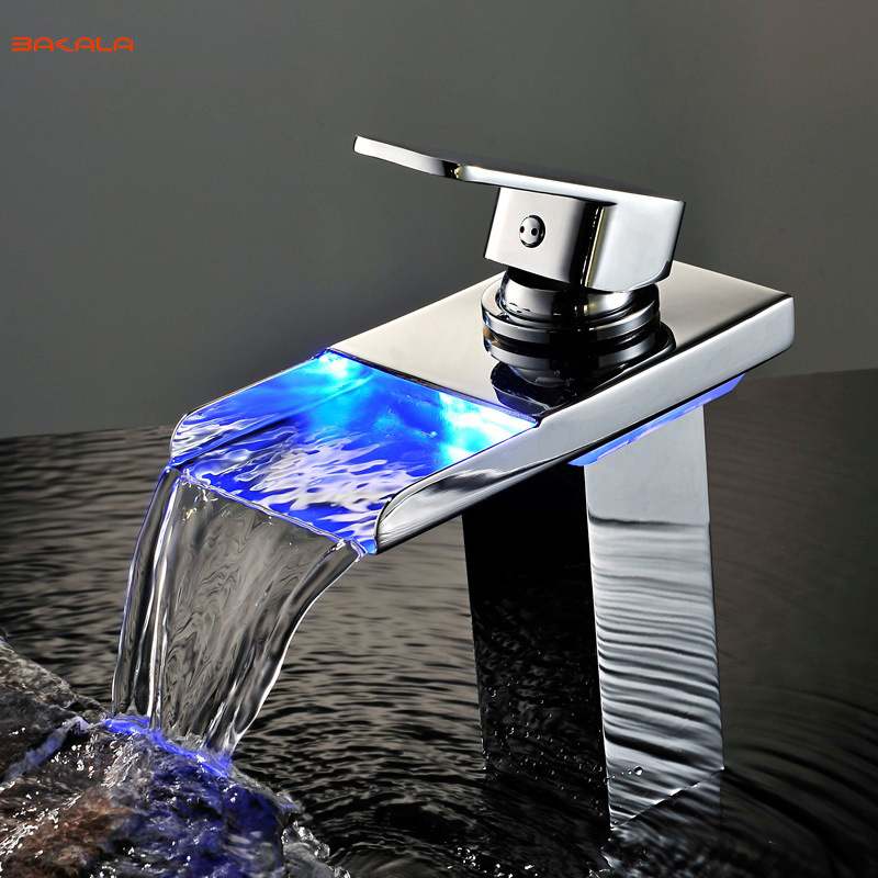 BAKALA Chrome Waterfall Basin Faucet LED waterpower Electricity generation Luminescence Water tap For Bathroom LED 501