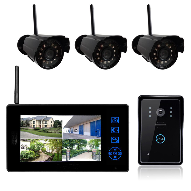 2 4G Wireless 700tvl CCTV Camera Outdoor IR Camera Indoor 7 Inch Display Video Intercom Surveillance