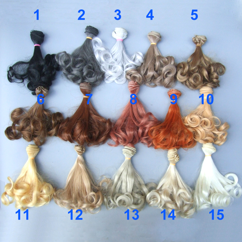 Free Shipping Wholesales Extension Hair 15*100cm Natural Color Curly Wigs For BJD Doll