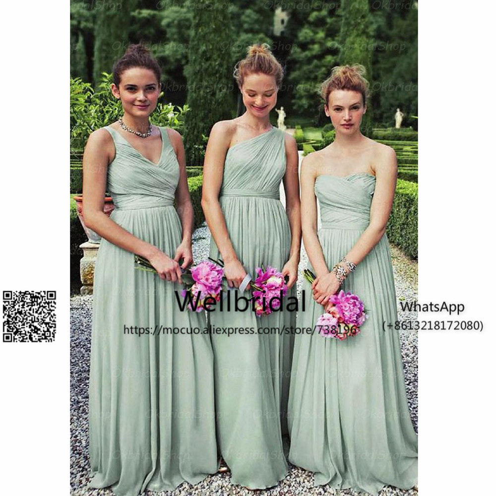 New 2017 Duety Green Bridesmaid Dress Long with 3 Design Wedding Party Dresses Chiffon Prom Bridesmaid Dresses Long