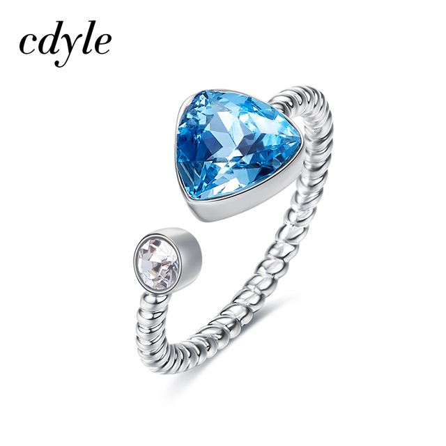 1e2174315 Cdyle Crystals from Swarovski Luxury Rings S925 Sterling Silver Fashion Jewelry  Engagement Women Weding Rings Blue Heart Jewelry
