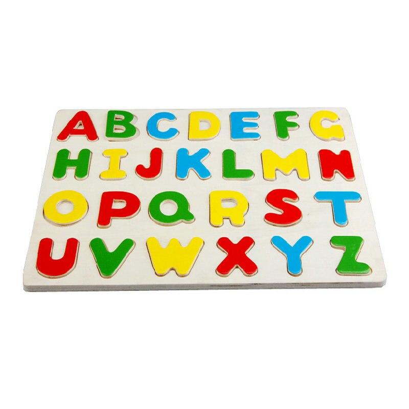 Livrare gratuită Clasic Lemn de dezvoltare timpurie Scrisoare de puzzle Puzzle jucarii din lemn 26 litere englezești PUZZLE, jucării educaționale pentru copii