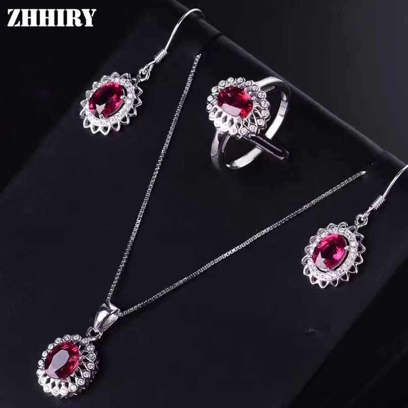 ZHHIRY Women Jewelry Sets Natural Pyrope Garnet Gemstone Genuine 925 Sterling Silver Set Ring Earring Pendant Chain Fine Jewelry недорого
