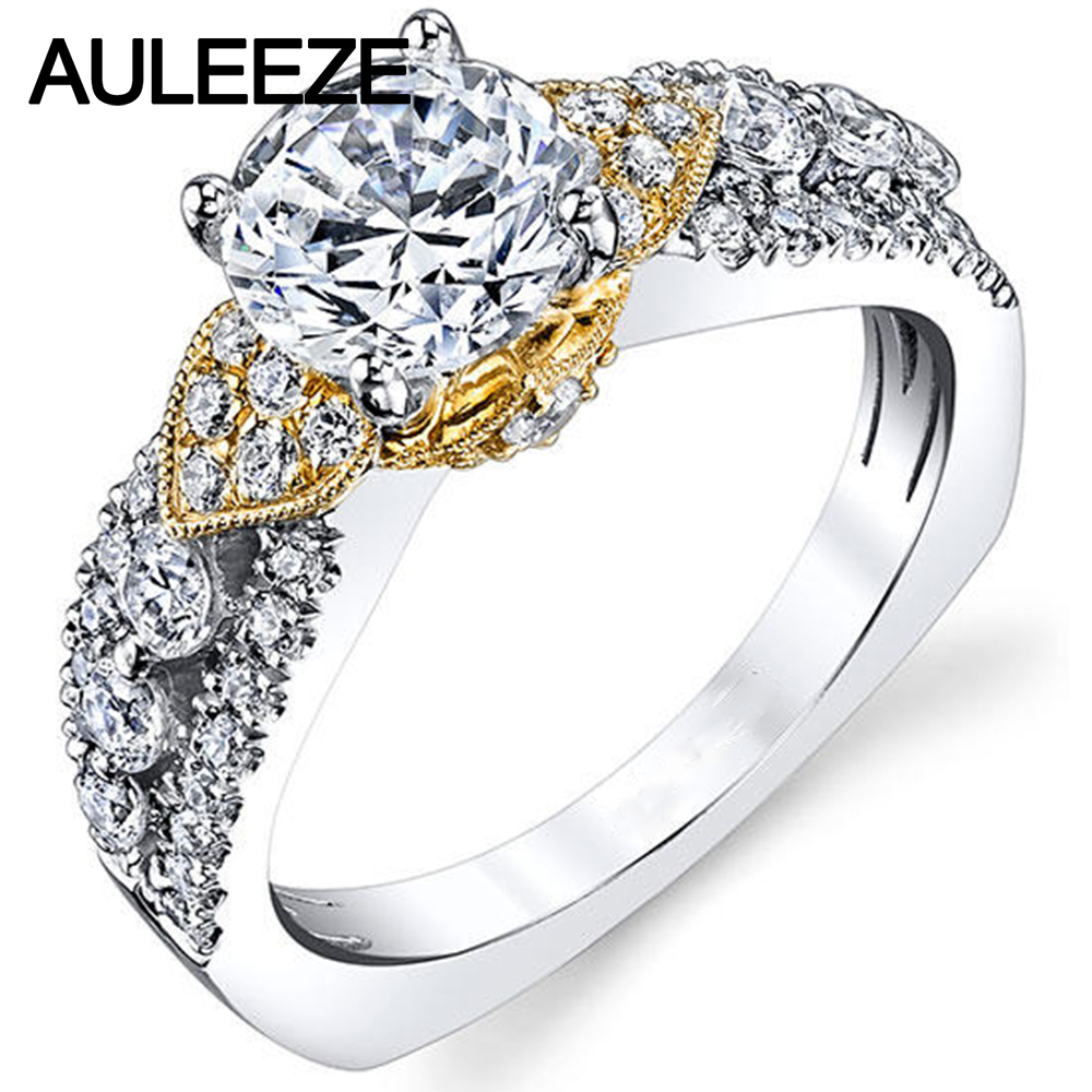 Vintage crown floral 14k two tone gold engagement wedding for Two tone wedding rings for women