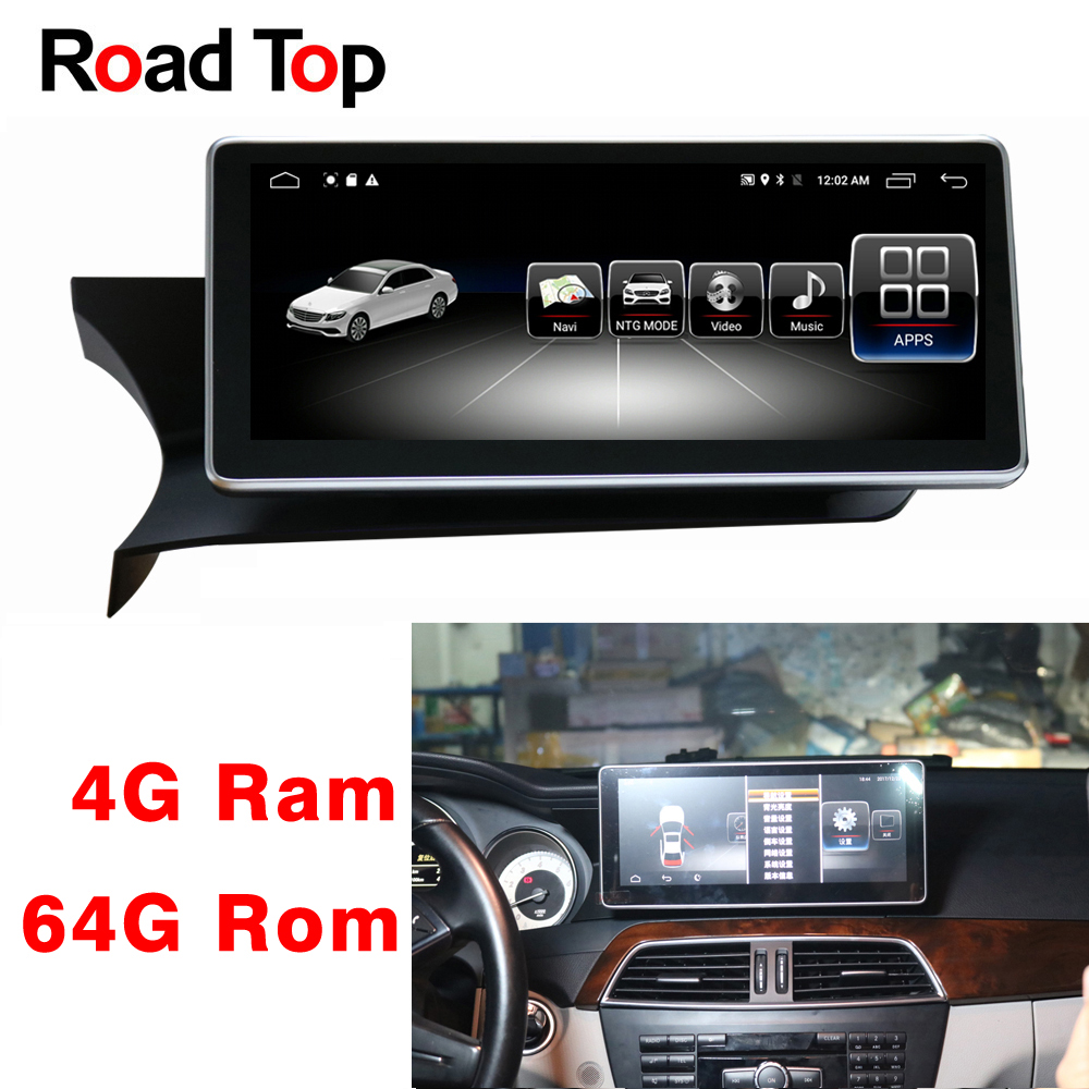 10.25 Android 8.1 Display for Mercedes Benz C Class W204 2011 2013 Car Radio Monitor GPS Navigation Bluetooth Multimedia Screen