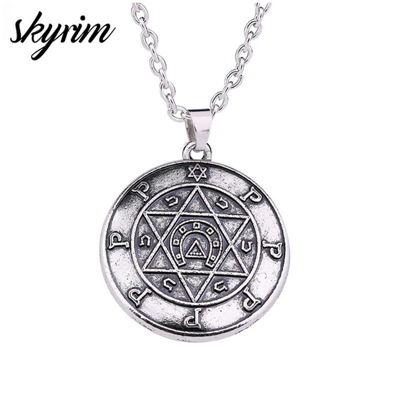 Skyrim Talisman For Performer Key of Solomon Hebrew Jewelry Wicca Star of David Pendant Amulet Jewelry Link Chain Men Necklace pendant
