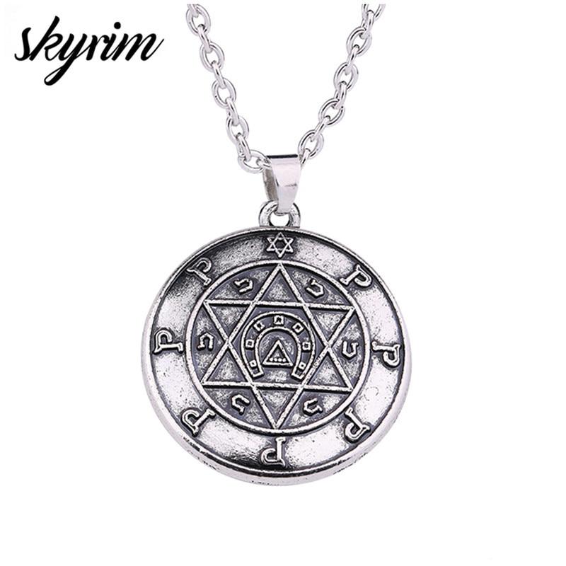 Skyrim tılsım için Performer anahtarı Solomon İbranice takı Wicca altı köşeli yıldız kolyesi muska takı Link zinciri erkekler kolye