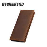 NEWEEKEND 1008 Retro Casual Genuine Leather Cowhide Crazy Horse Simple Long Card Cash Photo Wallet Coin Purse Handbag for Man 50