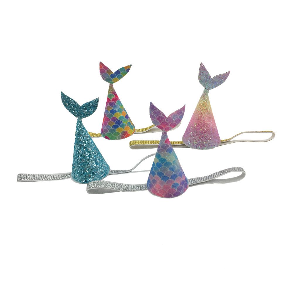 (10ps/lot)2018 creative glitter mermaid headband beach theme party hats headband girl kids Boutique hair accessories