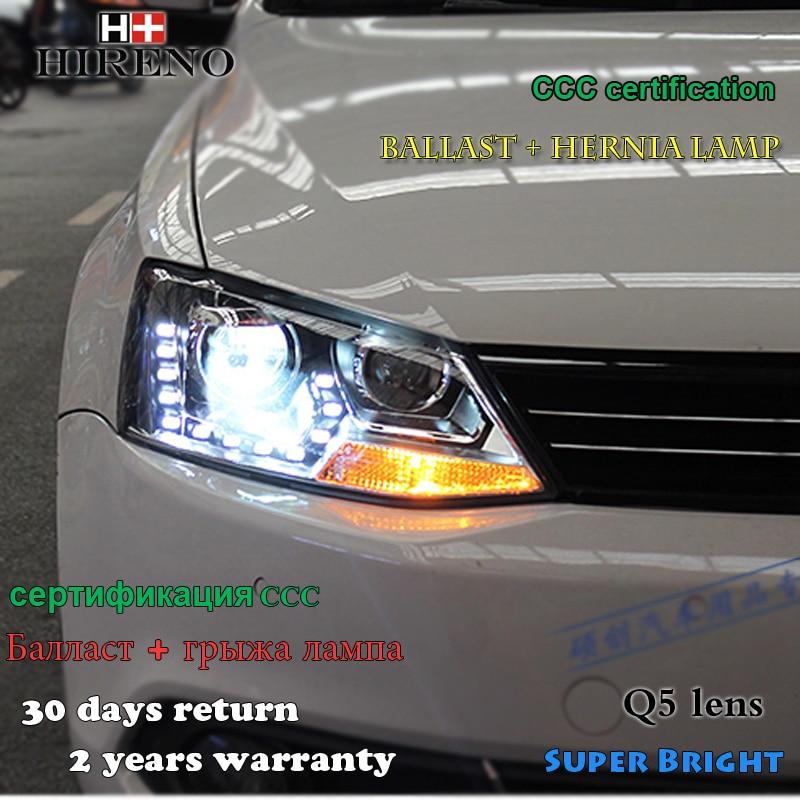 Hireno Headlamp for 2012-2015 Volkswagen Jetta MK6 Headlight Assembly LED DRL Angel Lens Double Beam HID Xenon 2pcs hireno headlamp for 2010 2012 kia sorento headlight assembly led drl angel lens double beam hid xenon 2pcs